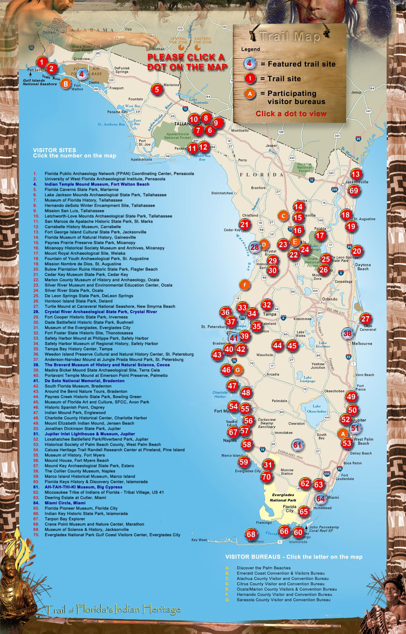 Florida Indian Trail Map | Florida Historical Sites | Trail maps ...