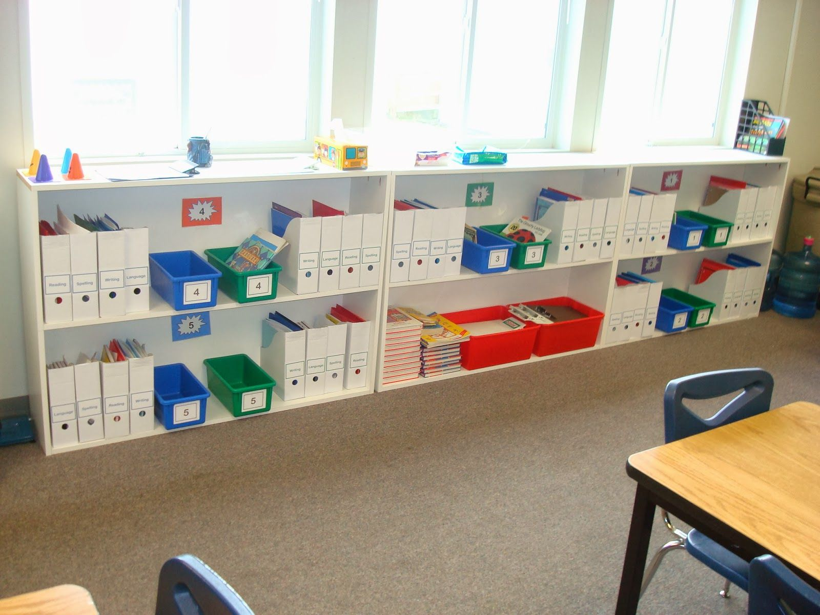 Classroom Cabinet Design : Diy classroom shelves numbers on bins and back of