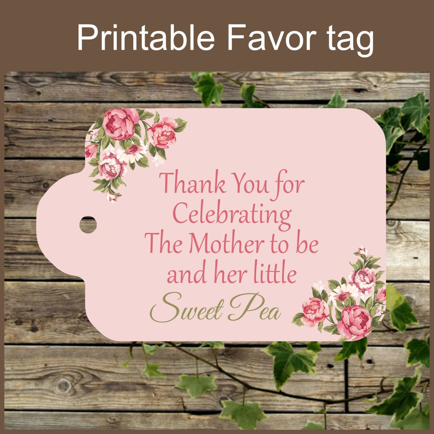 Pink Floral Baby Shower Printable Favor Tag / Sweet Pea / Baby Shower Favor  Tag / Instant Download