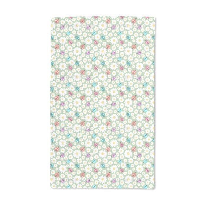 Uneekee Ladybugs Love Flowers Hand Towel