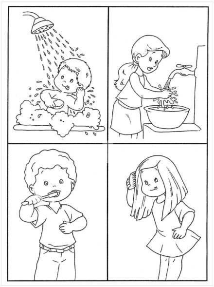 Картинки раскраски о личной гигиене для детей