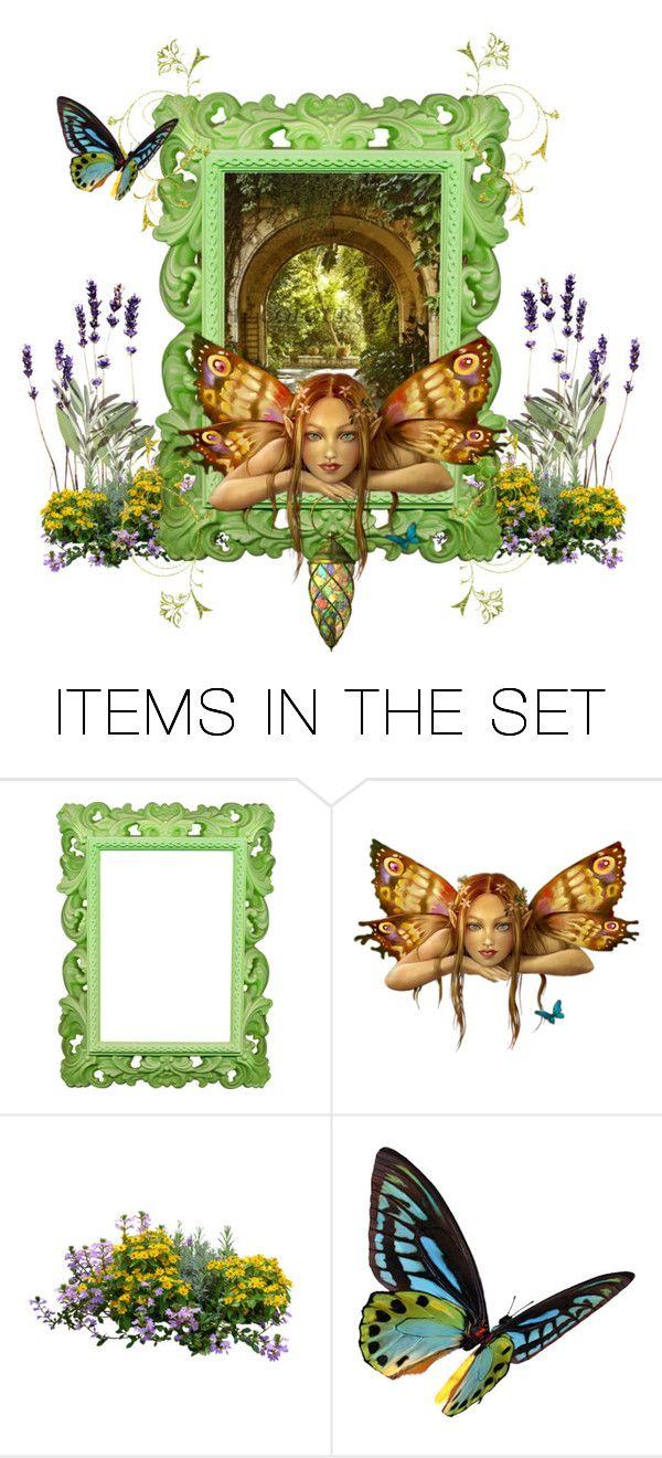 """""""Garden Fairy"""" by capricat ❤ liked on Polyvore featuring art"""