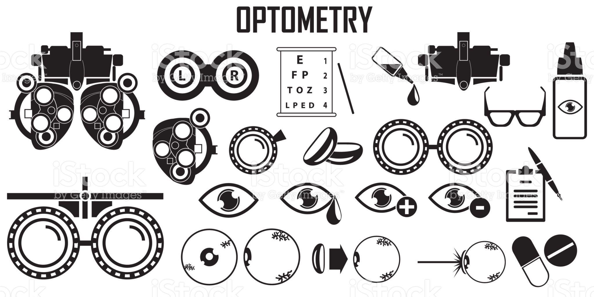 Optometry Icons Set. royaltyfree optometry icons set