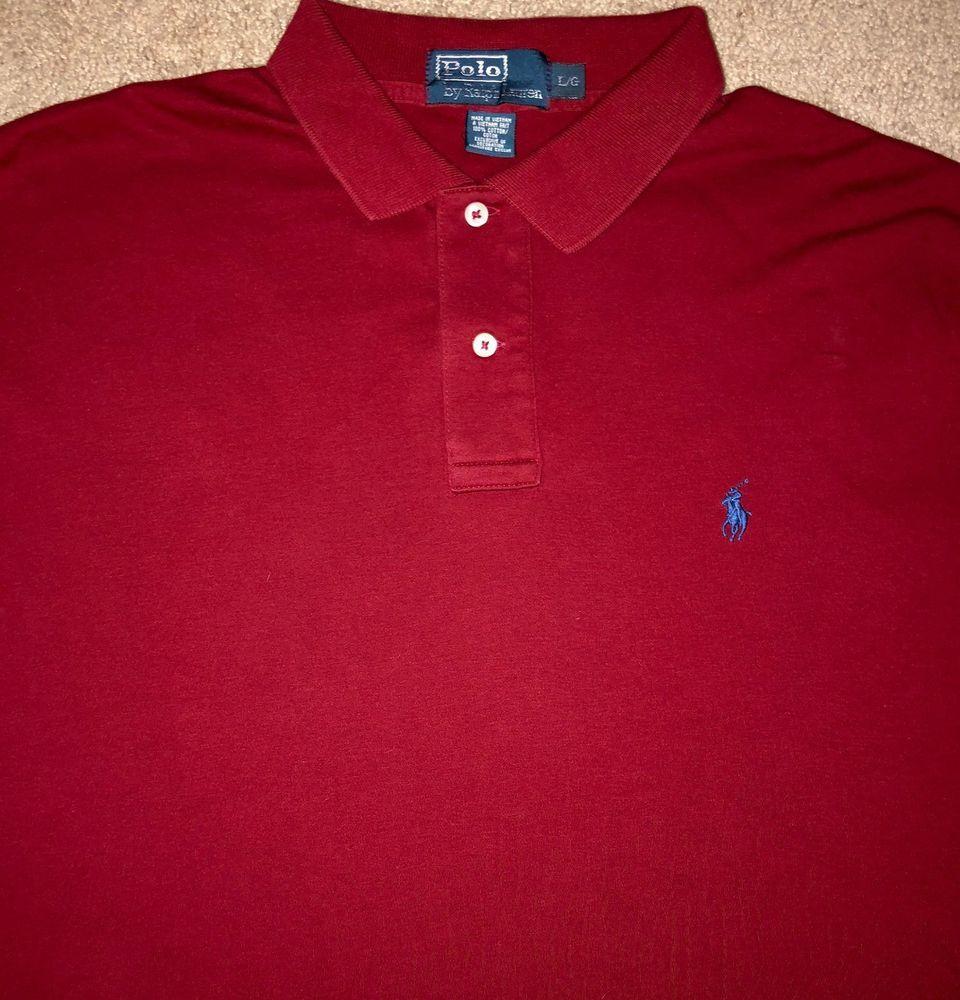 8b93653a7 Men s Polo Ralph Lauren Button Down Dress Shirt Long Sleeve Size Large Red   PoloRalphLauren  PoloRugby