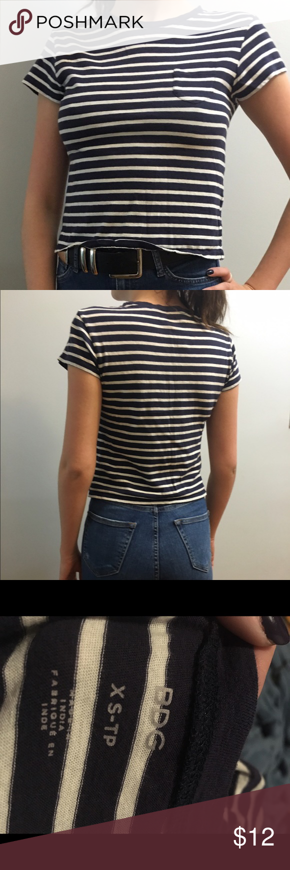 BOGO 50% Striped Cropped Tshirt SALE!! EVERYTHING in my shop will be Buy One Get One HALF OFF until MONDAY!! The lesser valued item will recieve the discount make a bundle and i will give you the sale price for it!!   Blue and white striped cropped tshirt with pocket on front. Great basic!  ***   ***   ***   ***   *** • NO SWAPS • Please message me with any and all inquiries • MAKE ME AN OFFER! Please no lowballing.  • Discounts on bundles! • Smoke-free house • No returns  :) Urban…
