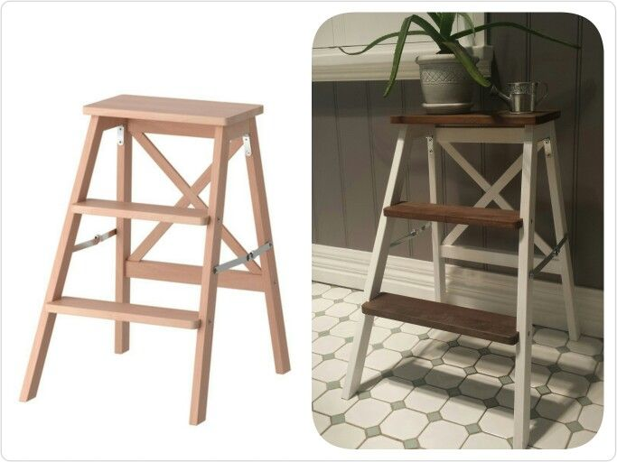 IKEA bekvam 3 step ladder hack. White paint and vinegar/steel wool stain. & IKEA bekvam 3 step ladder hack. White paint and vinegar/steel wool ... islam-shia.org