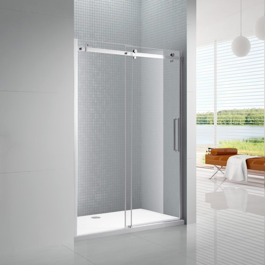 Primo 8mm Tempered Glass Sliding Shower Door With Bar Handle 60 Black Shower Doors Shower Sliding Glass Door Frameless Sliding Shower Doors