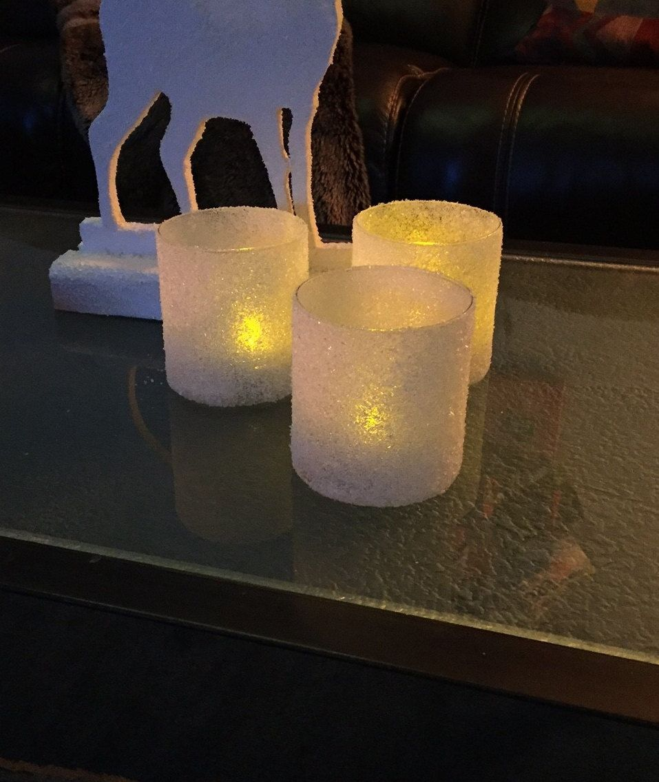 Ice Candles, Christmas Candles, Winter Candles,LED Candles, Frosty Candles, Wedding Candles by MrGsStuff on Etsy