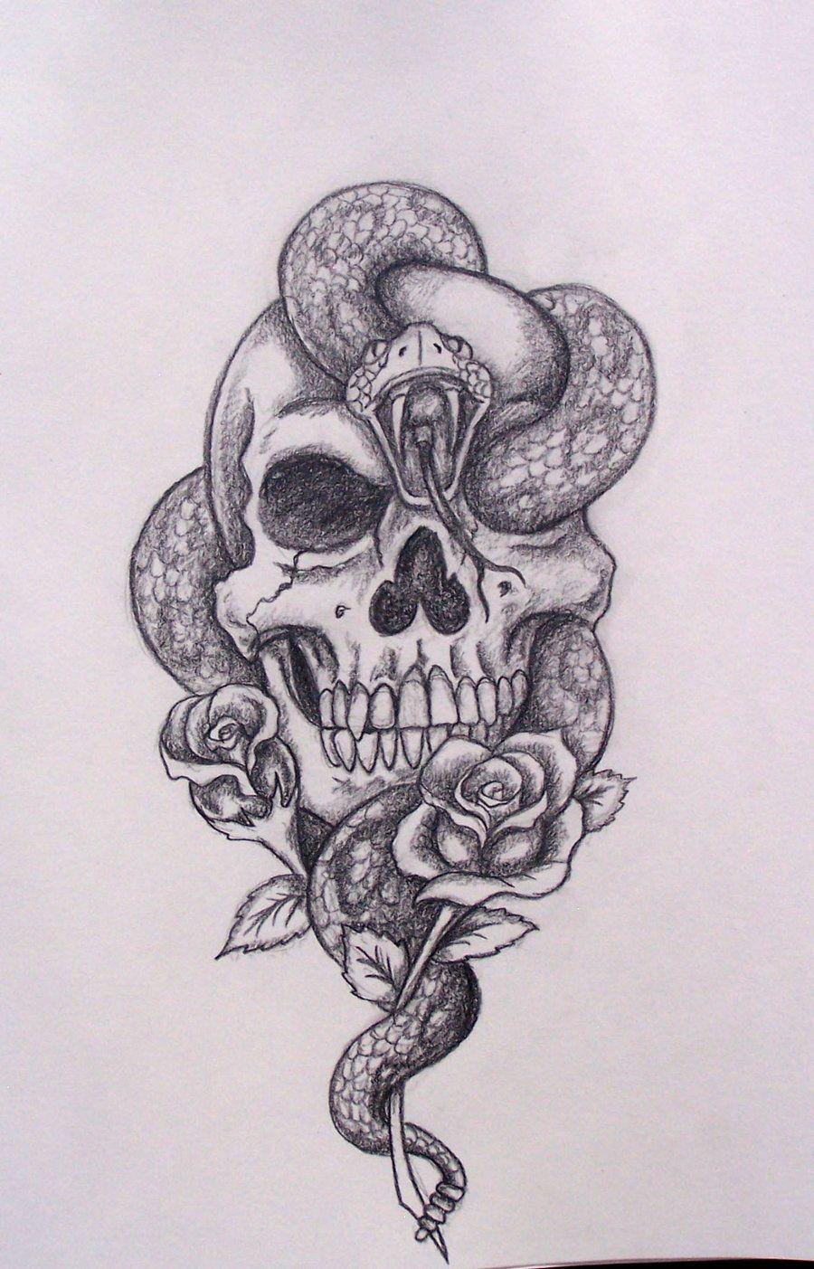 Skull Snake Tattoos : skull, snake, tattoos, Tattoo, Skull, Design,, Drawing,, Tattoos