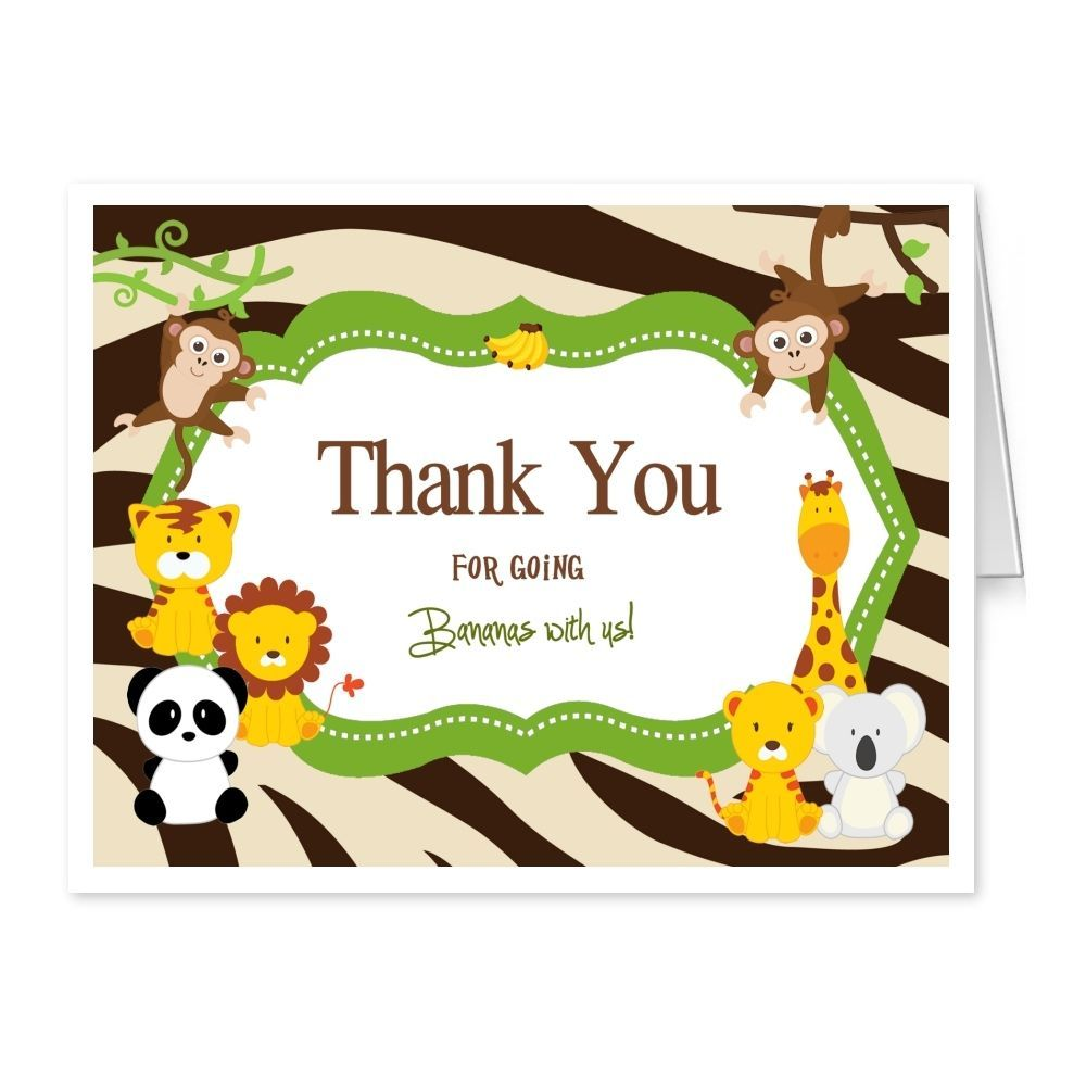 Baby Shower Thank You Cards Folded Safari Monkey Thank You Notes