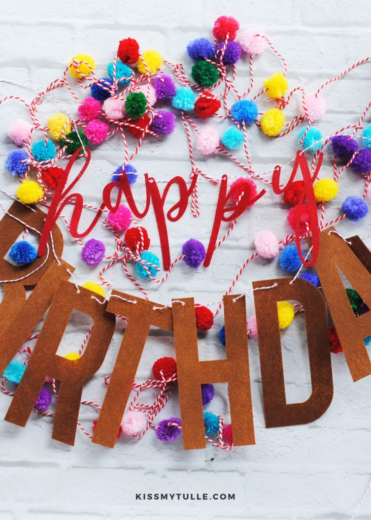 Diy felt happy birthday banner kiss my tulle happy