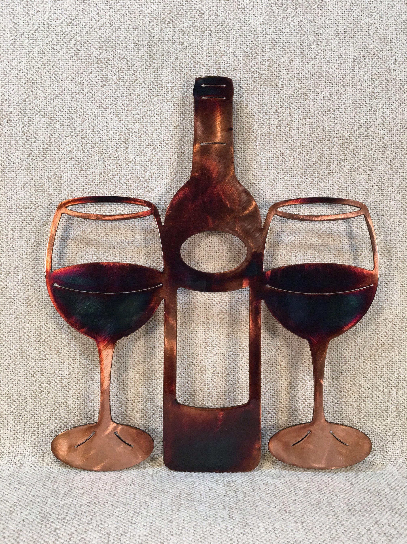 Wine Bottle Glass Metal Art Wine Bar Decor Etsy Metal Tree Wall Art Metal Tree Metal Art Decor
