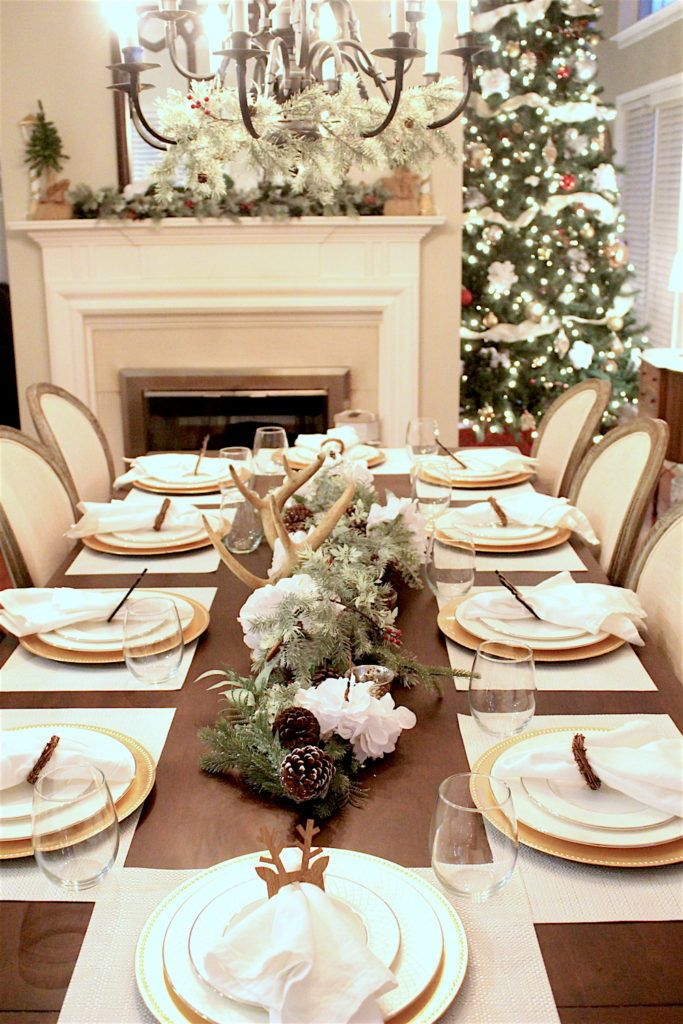 Holiday Tablescape Inspiration With Deer Antlers White Hydrangeas For Christmas Holiday Tablescapes Christmas Table Decorations Gold Holiday Tablescape
