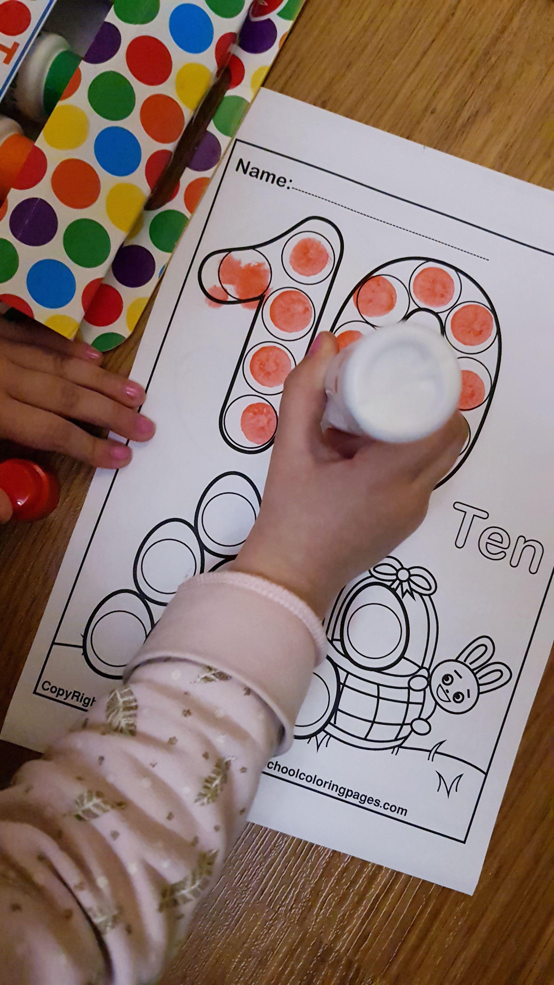 Easter 123 numbers dot markers printables,free preschool