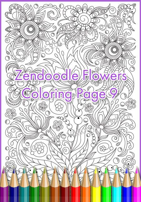 Coloring Page Adults And Children PDF Printable Doodle Flowers Zendoodle Zentangle Inspired Art