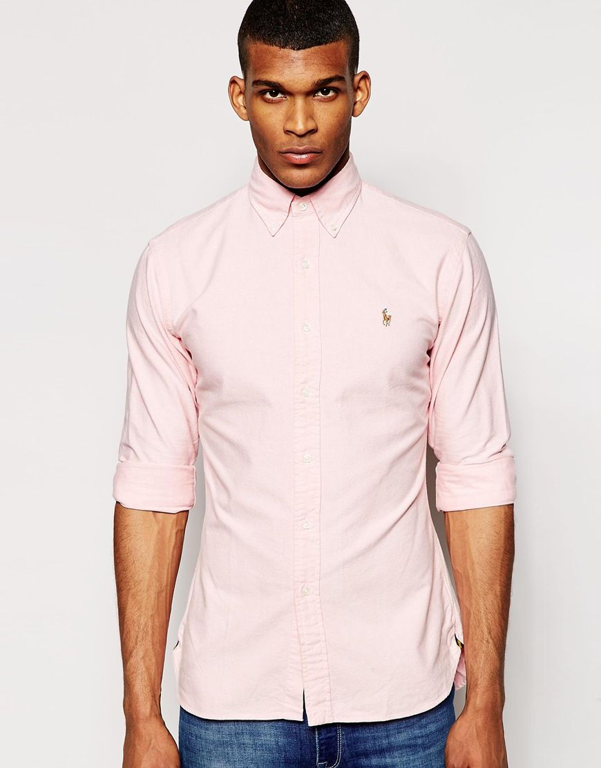 Polo Ralph Lauren Oxford Shirt In Slim Fit Pink at asos.com