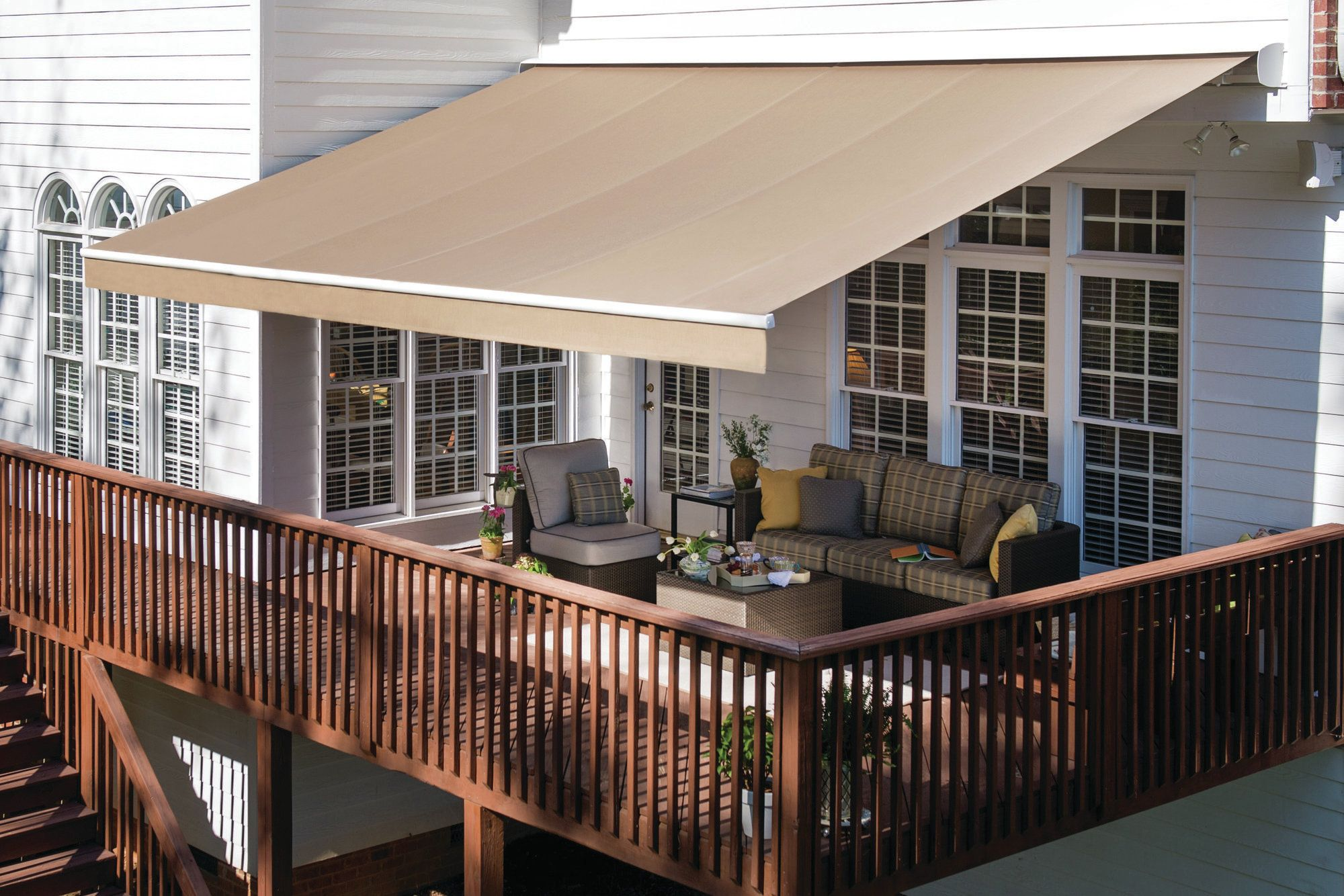 Retractable Awnings Come In Thousands Of Color And Style Combinations Motorized Awnings Are Powered By Somfy Motors An Outdoor Awnings Deck Awnings Deck Shade