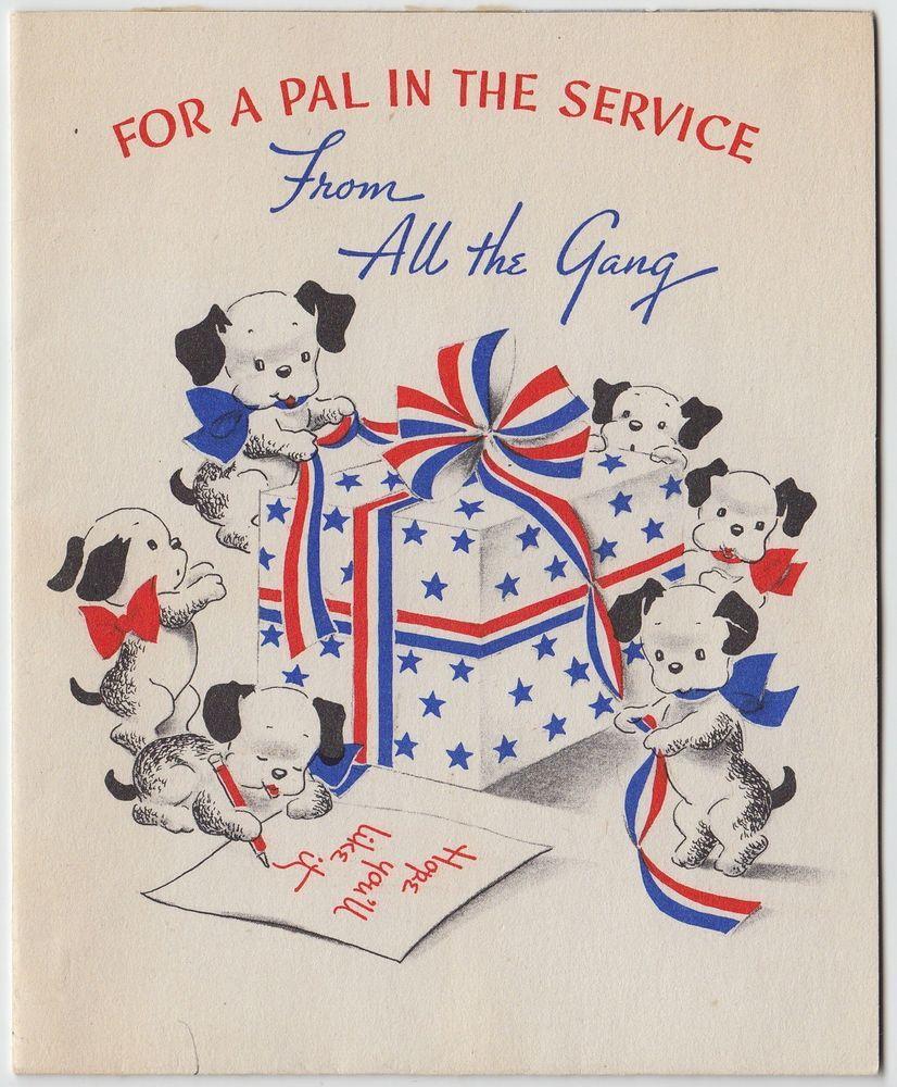 Vintage Greeting Card Wwii Era Soldier Pal Puppy Dog Patriotic