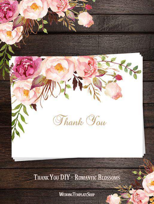 Printable Wedding Thank You Card Romantic Blossoms Wedding Thank