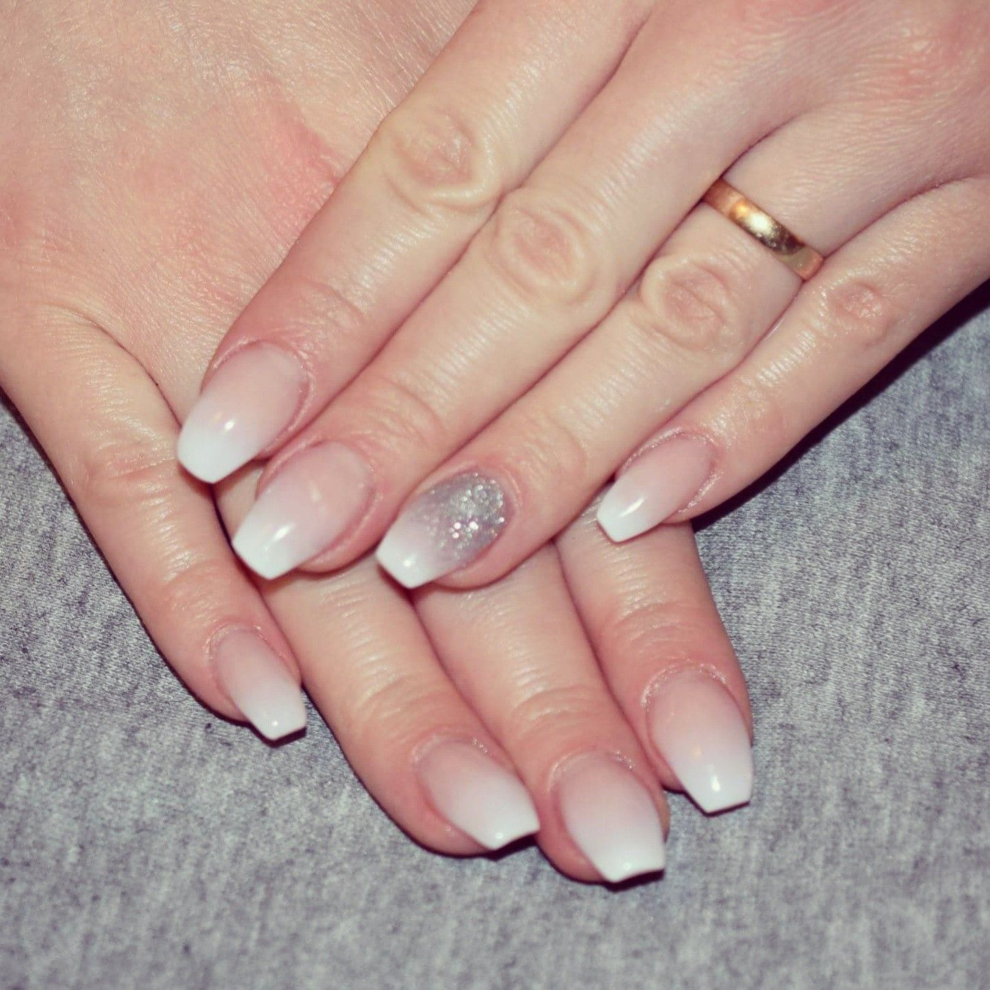 French fade with silver glitter | acrylic Nails done by me ...