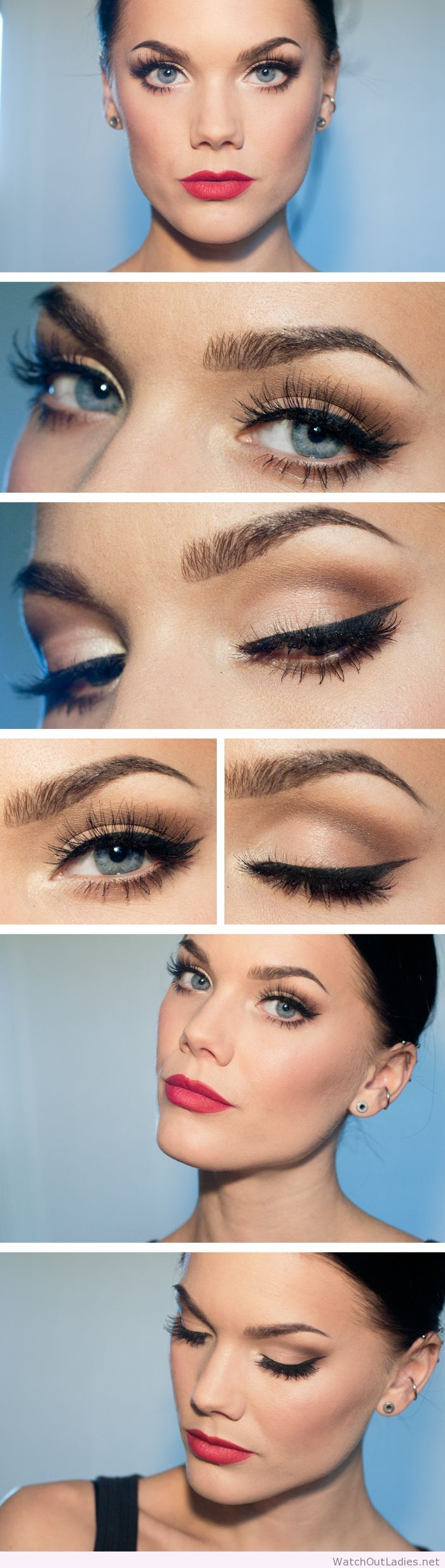 Linda Hallberg lady makeup, nude eye makeup and red lips