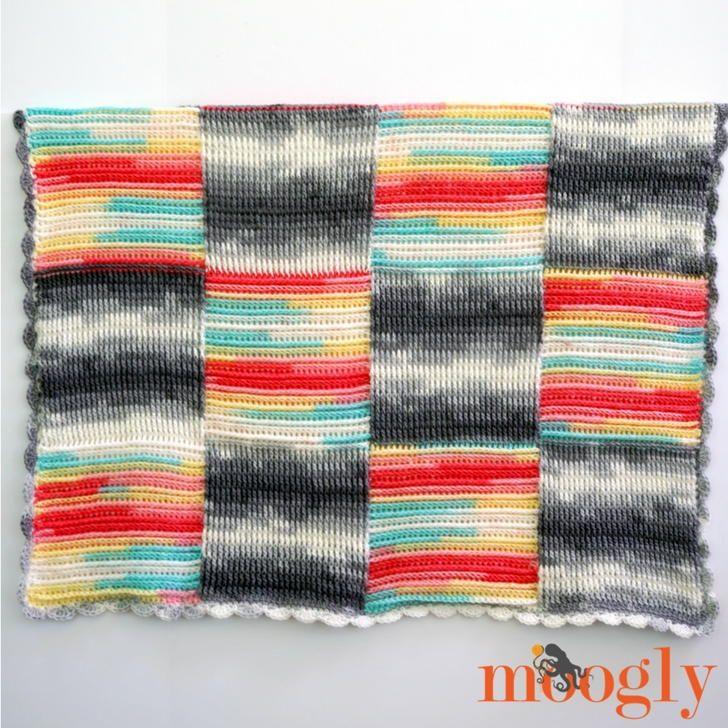 Basketweave Blocks Baby Blanket