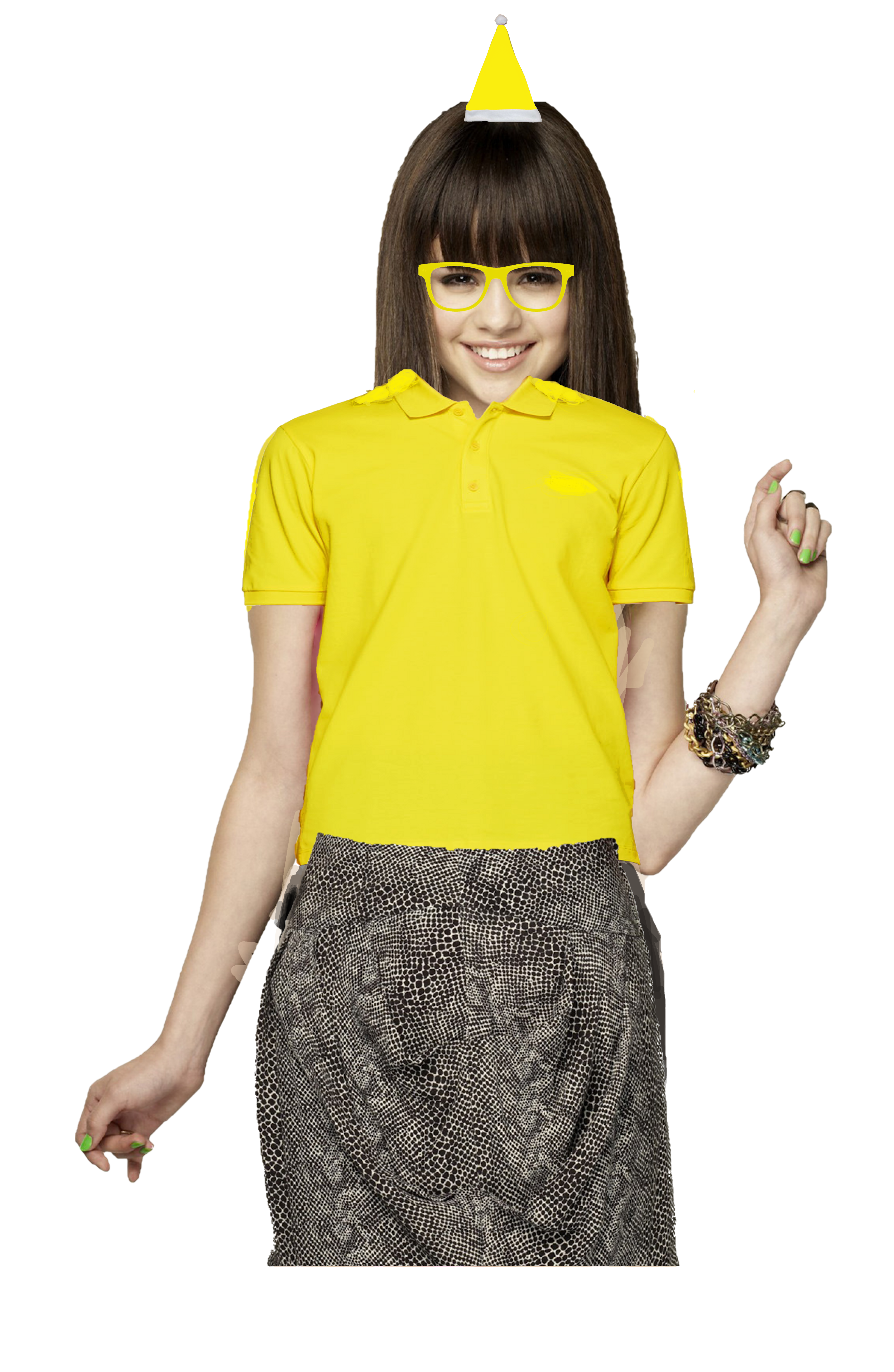 Selena Gomez Long Brown Hair With A Fringe Yellow Santa Claus Hat Glasses Polo Shirt Pitts Pens In 2020 Yellow Polo Shirt Long Brown Hair Santa Claus Hat