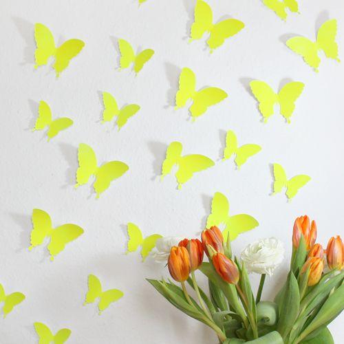 Wandkings 3D-Schmetterlinge in Neon gelb von Wandkings auf DaWanda.com