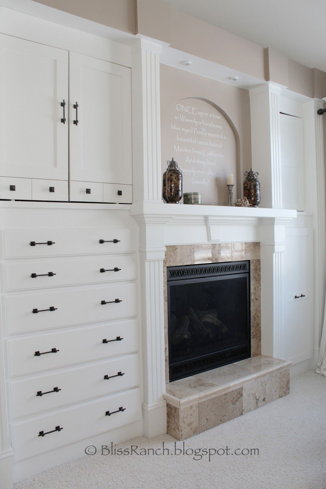 Bedroom Built-in Dresser. More drawers instead of the fireplace. Don ...