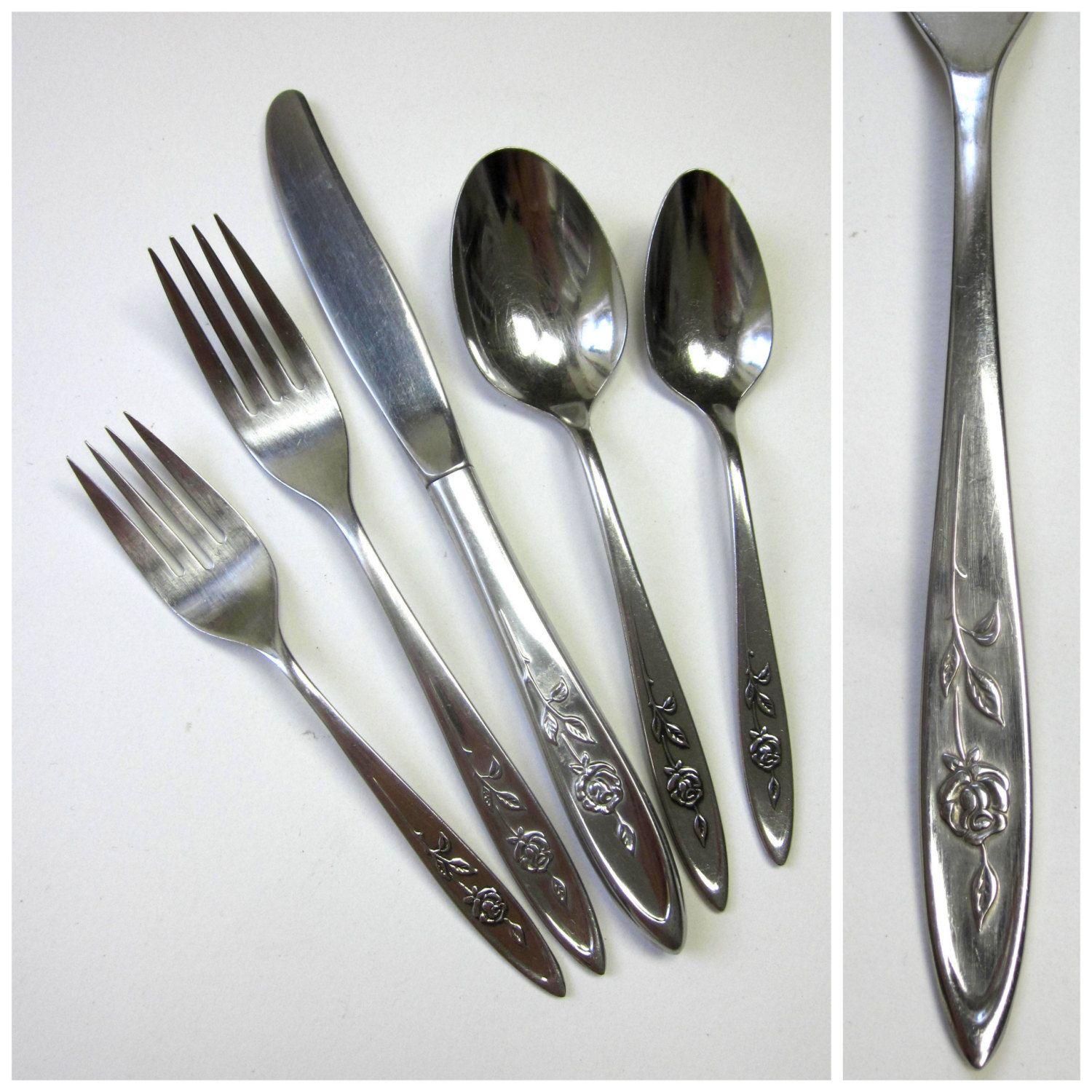 oneida community my rose stainless 41 pc flatware set 60s