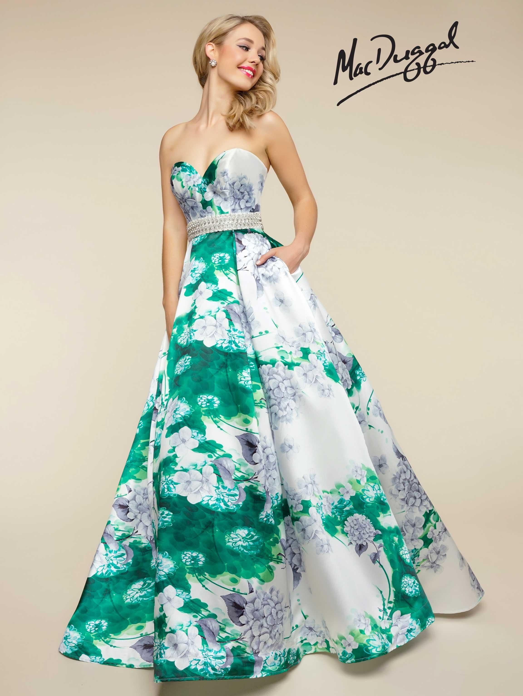 MacDuggal Spring Green Strapless Sweetheart Neckline Floral ...