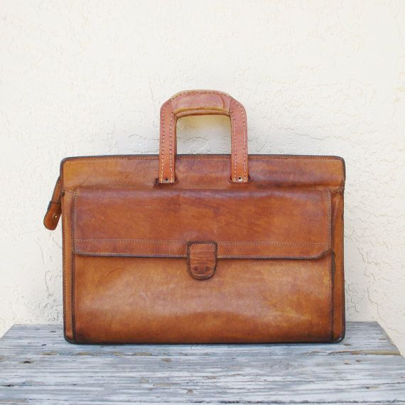 4843d4e58c104 Vintage Hartmann Briefcase / Distressed Leather Briefcase / Soft Side  Briefcase / Leather Messenger Bag