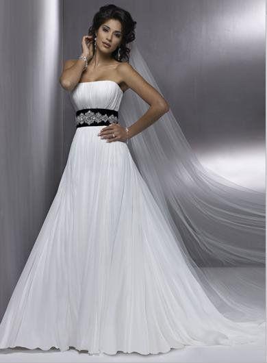 vestidos de novia blanco con negro sencillos - Buscar con Google ...