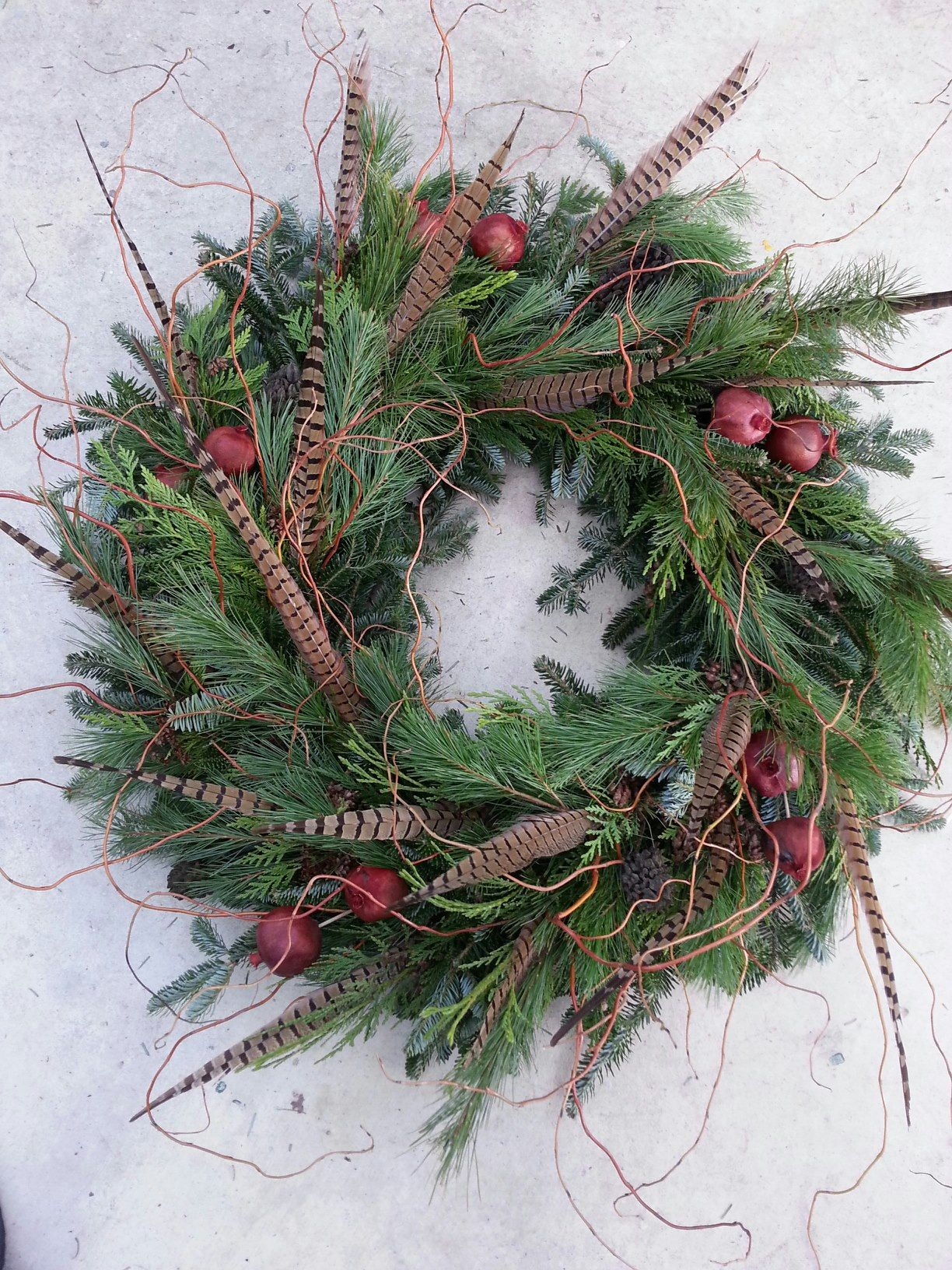 Custom Christmas Wreath  Pheasant Feathers, Pomegranate, Mixed Cedar, And