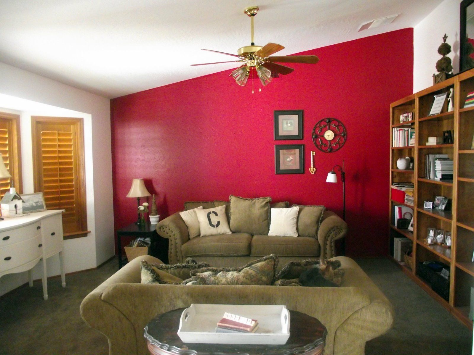 Decorating, Astounding Interior House With Red Wall: Cool Colors ...