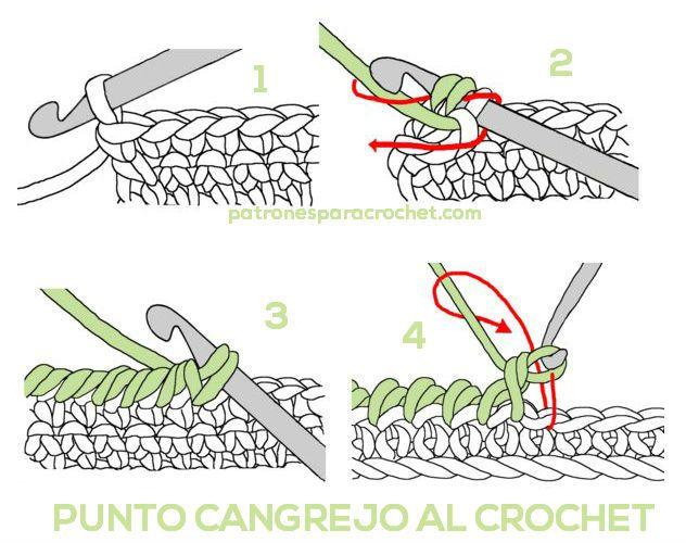 Cómo tejer punto cangrejo al crochet / Aprende a tejer   Cangrejo ...