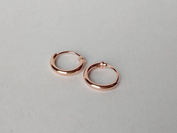 8mm Rose Gold Hoop Earrings Plated Tiny
