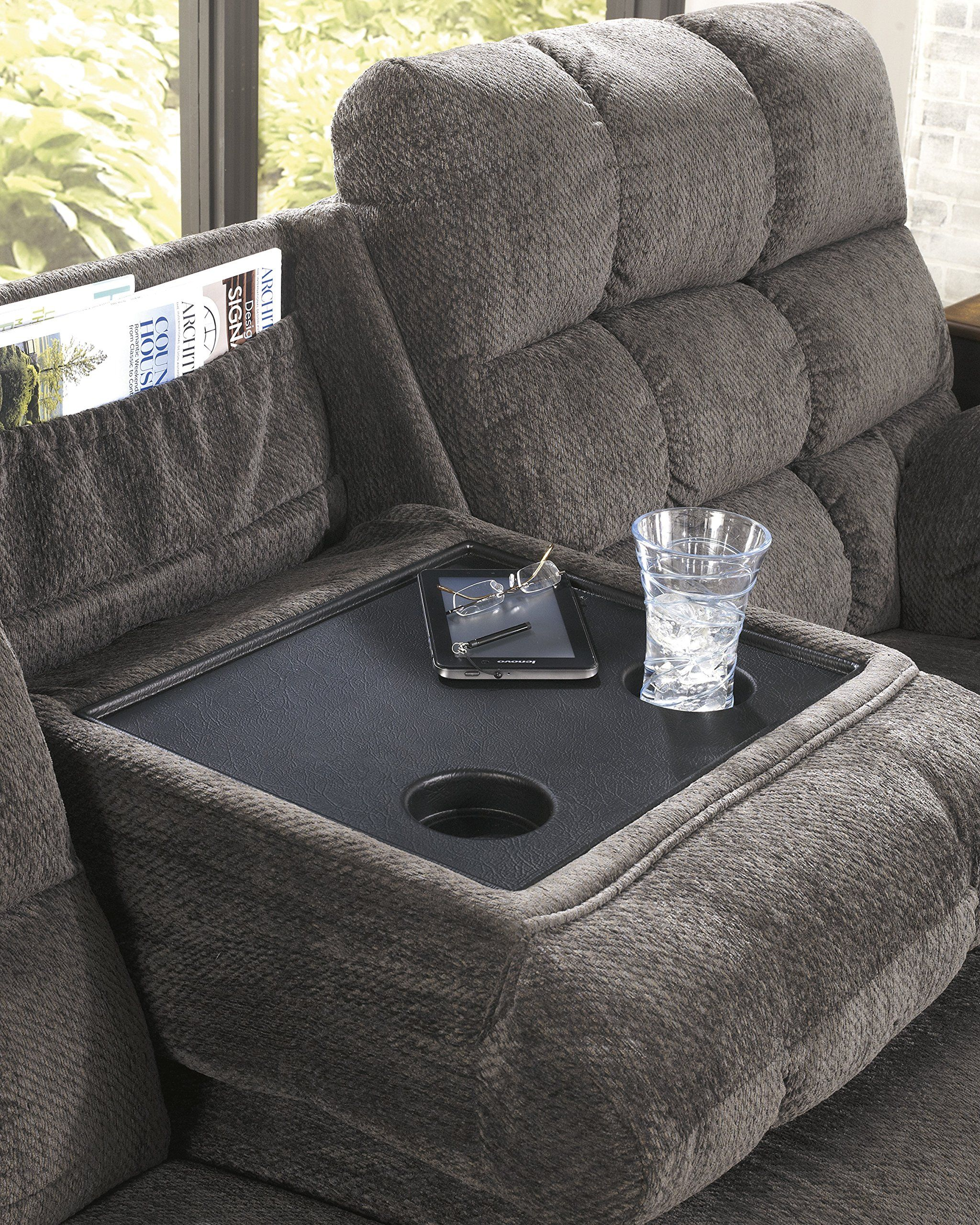 Acieona Contemporary Slate Fabric Reclining Sofa w/Drop