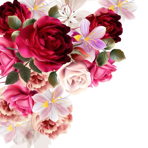 Wedding Flowers Vector Free Download : Roses and huasinth flowers vector illustration