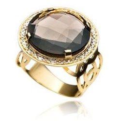 Anel Ouro Amarelo Diamante Quartzo Allegro