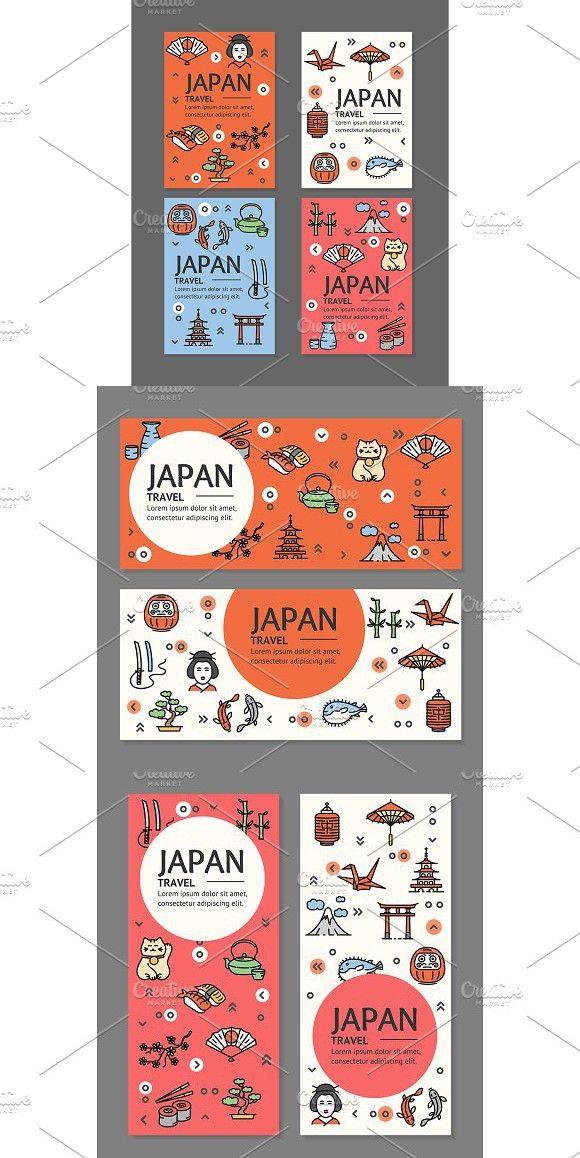 Japan Travel Flyers Banners Set Travel Brochure Design Japan