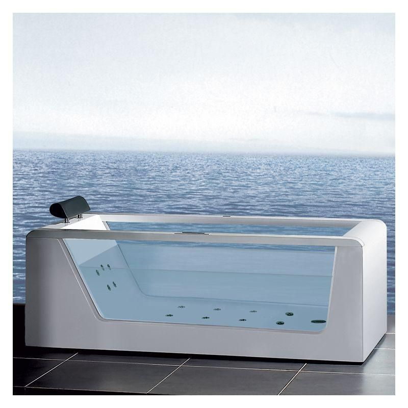 Platinum 6ft Rectangular Freestanding Acrylic Whirlpool Bathtub with ...
