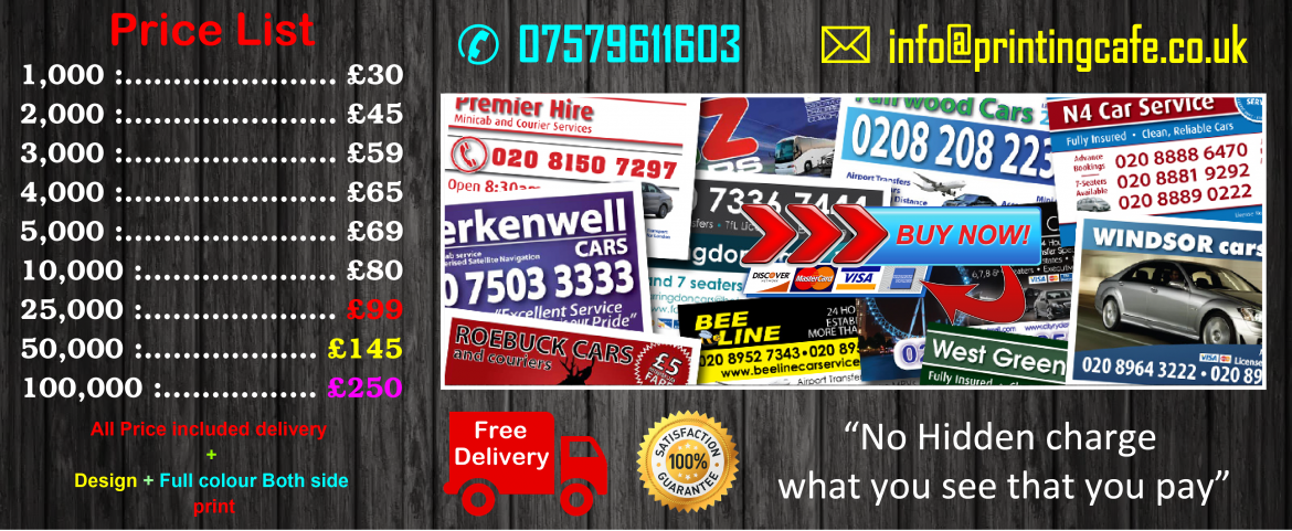 Low Cost Taxi minicab business cards receipt book printing uk ...