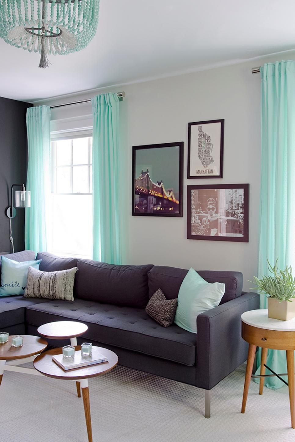Mint Green Is The Perfect Accent Color For This Black And White Living Room A Dark G Green Furniture Living Room Living Room Turquoise Contemporary Home Decor