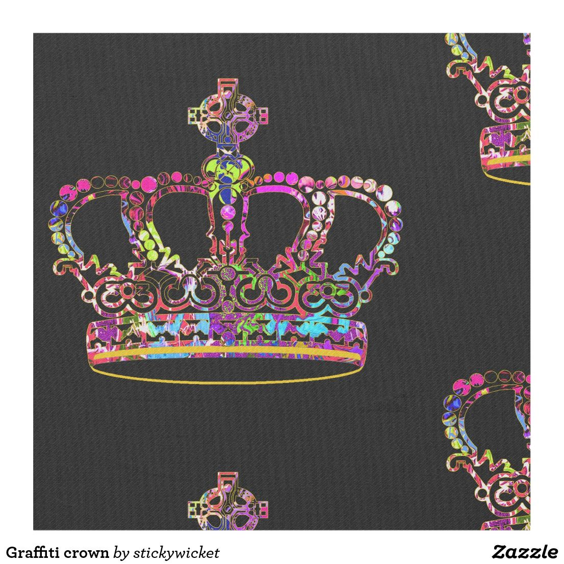 Graffiti crown fabric | Fabric house | Fabric houses, Fabric, Crown