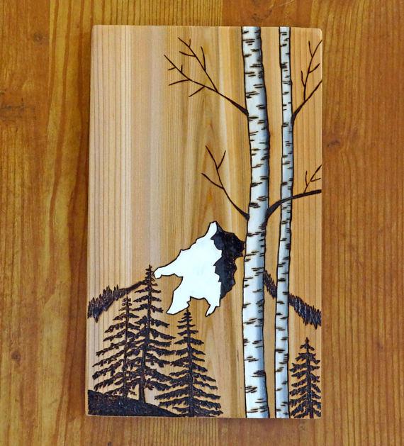 Woodburning Art Pyrography Mountains Pine Birch Trees