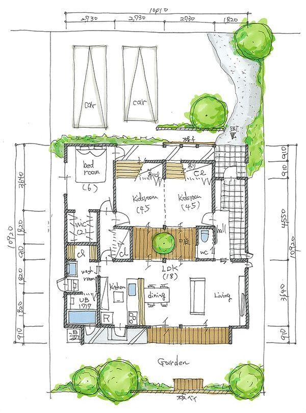 プラン集 中庭の木を楽しむ 平屋の家 アークホーム一級建築士事務