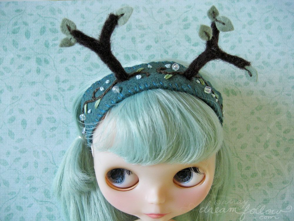 Night Forest tree antlers headband for Blythe