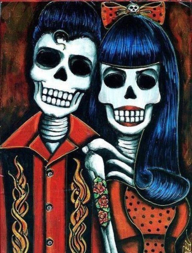 Skull Couple Dia De Los Muertos Day Of The Dead
