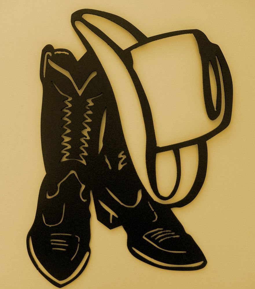 Western,Cowboy,Boot,Hat,Wall Accent,Metal Art,Lodge | Wall accents ...